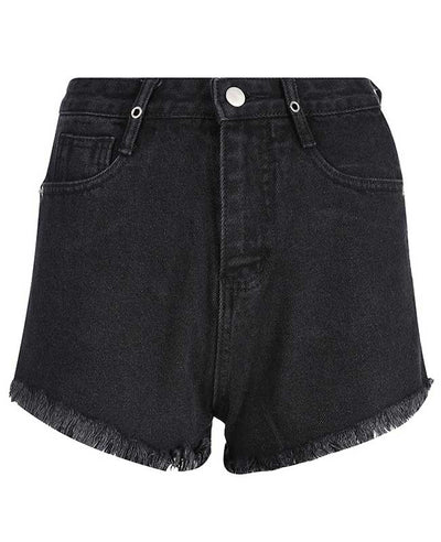 Black Rippled Denim Shorts