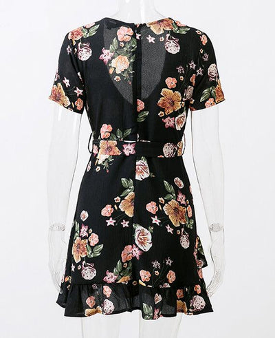 Bohemian Style Deep V-Neck Floral Print Dress 4