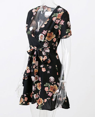 Bohemian Style Deep V-Neck Floral Print Dress 5