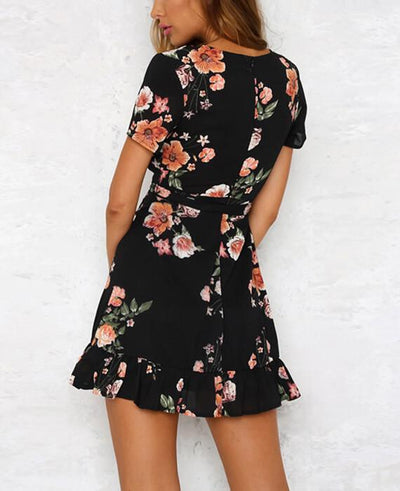 Bohemian Style Deep V-Neck Floral Print Dress 3