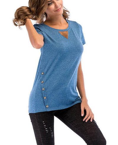 Casual Basic Round Neck Double Buttons T-shirts