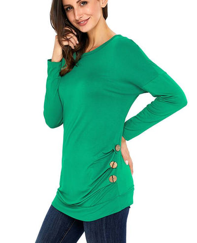 Casual Button Round Neck Long Sleeve Tees Shirts-10
