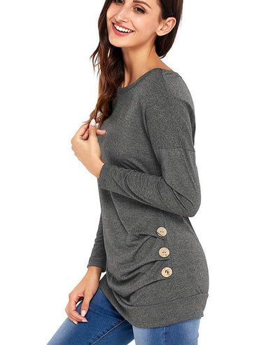 Casual Button Round Neck Long Sleeve Tees Shirts-11