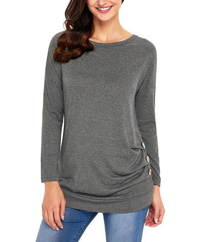 Casual Button Round Neck Long Sleeve Tees Shirts-1