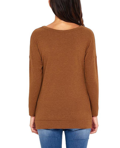 Casual Button Round Neck Long Sleeve Tees Shirts-12