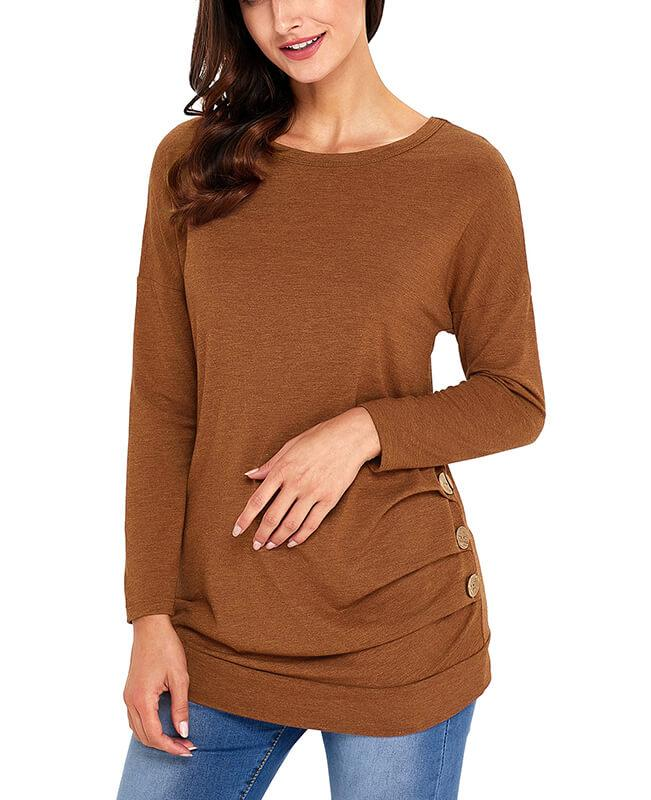Casual Button Round Neck Long Sleeve Tees Shirts