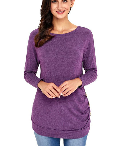 Casual Button Round Neck Long Sleeve Tees Shirts-4