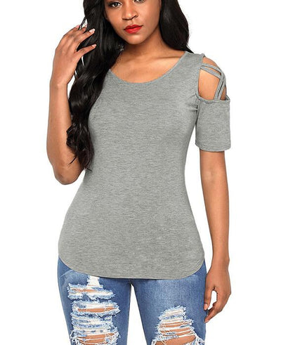 Casual Crisscross Cold Shoulder Basic T-Shirt
