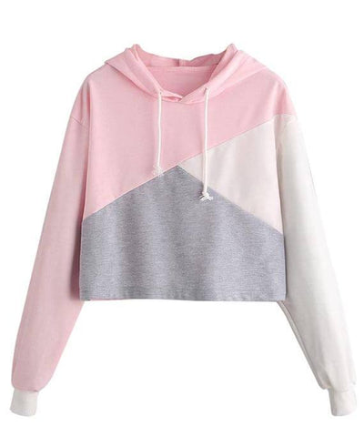 Color Patchwork Sweet Hoodie Sweatshirts