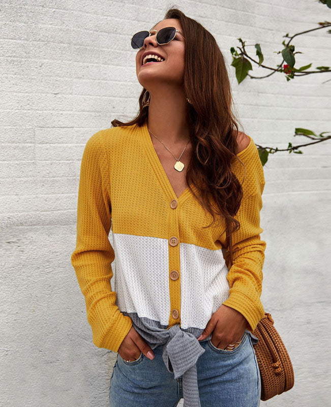 Color Patchwork Waffle Knit Shirt