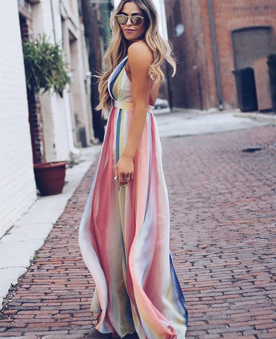 Colorful Striped Long Summer Dresses-3