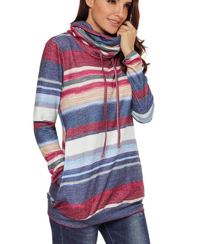 Cowl Neck Drawstring Color Striped Hoodie-5