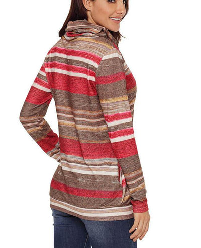 Cowl Neck Drawstring Color Striped Hoodie-4