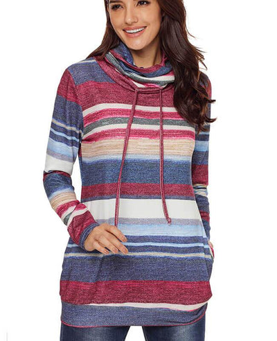 Cowl Neck Drawstring Color Striped Hoodie-1