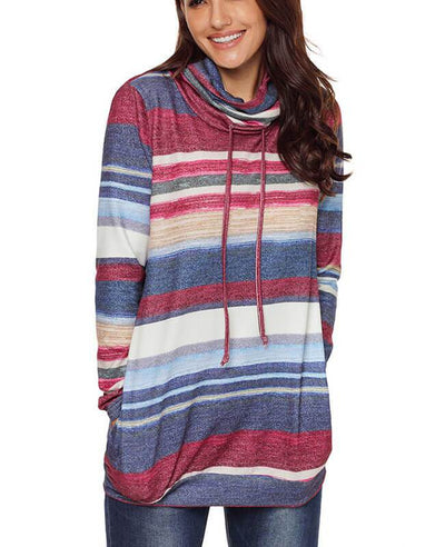 Cowl Neck Drawstring Color Striped Hoodie-3