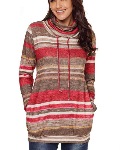 Cowl Neck Drawstring Color Striped Hoodie-2