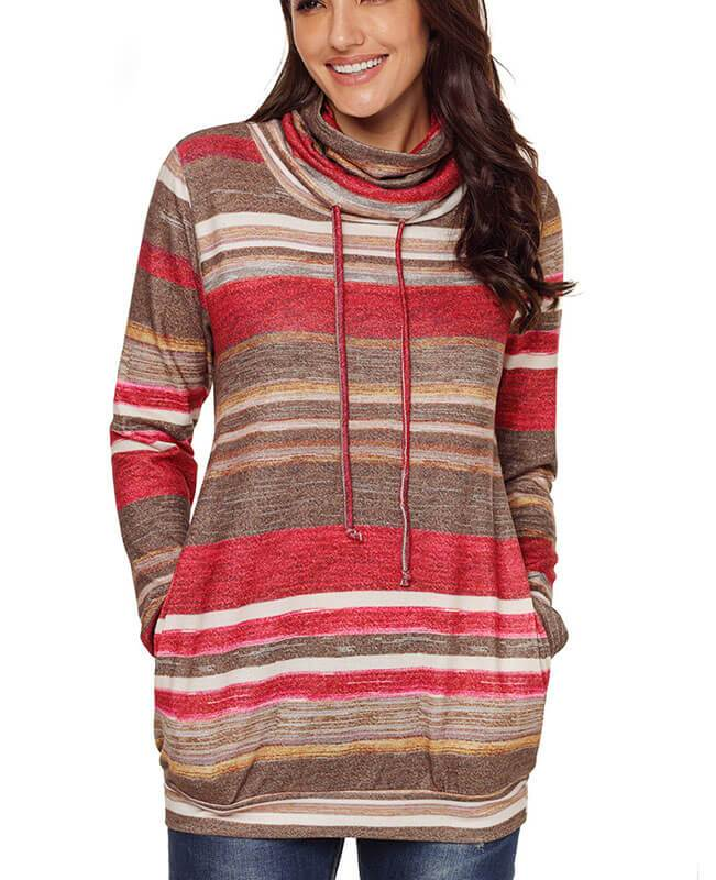 Cowl Neck Drawstring Striped Hoodie