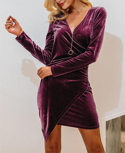 Long Sleeve Deep V-neck Velvet Bodycon Dress