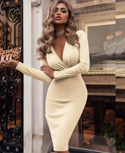 Deep V Neck Sexy Bodycon Dress-1