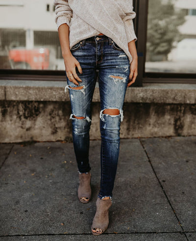 Distressed Skinny Ripped Jeans-1