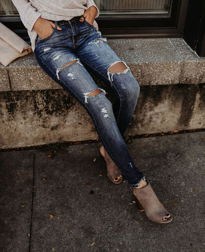 Distressed Skinny Ripped Jeans-3