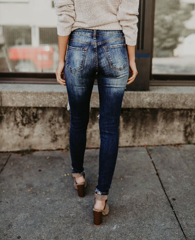 Distressed Skinny Ripped Jeans-4