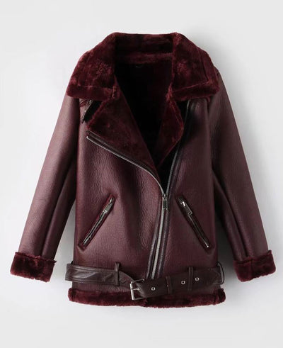 Faux Shearling Moto Jacket Coat-3