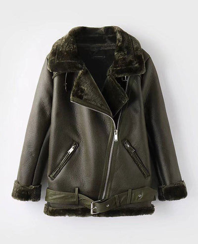Faux Shearling Moto Jacket Coat-2