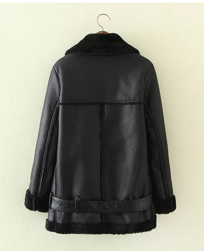 Faux Shearling Moto Jacket Coat-5
