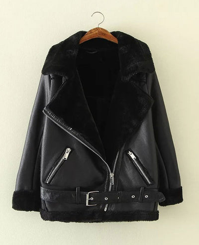Faux Shearling Moto Jacket Coat-1