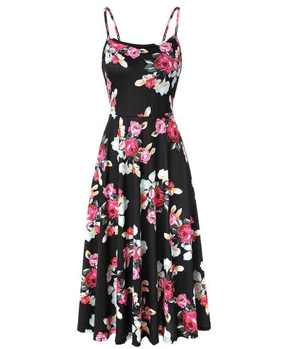 Floral Beach Spaghetti Strap Dress