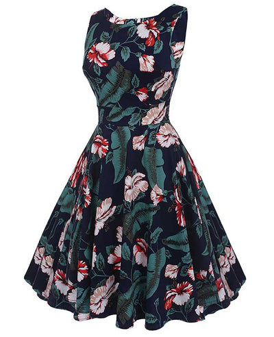 Floral Print Self-Tie Sleeveless Vintage Green Dress