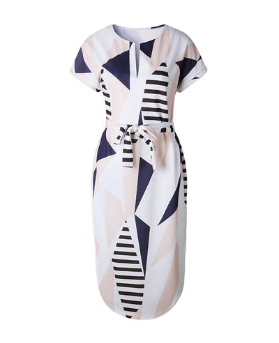 Geometric Pattern Color Block Dress