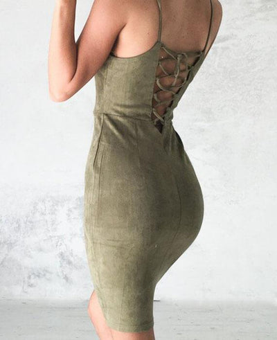 Halter Neck Strapless Back Lace Up Bodycon Dress