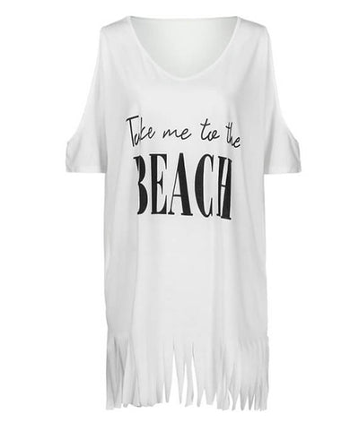 Hollow Out Shoulder Tassel Letters Print Beach Cover T-shirts