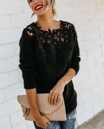 Lace Patchwork Furry Black Sweater