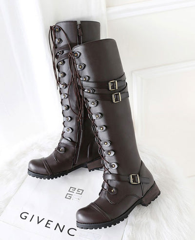 Lace Up Combat Boots for Women-5