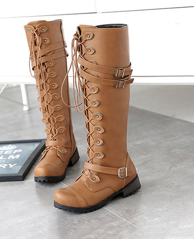 Lace Up Combat Boots for Women-10