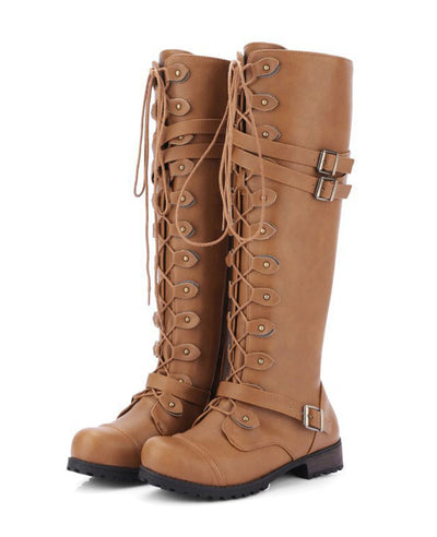 Lace Up Combat Boots for Women-3