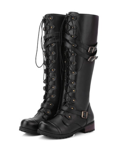 Lace Up Combat Boots for Women-11