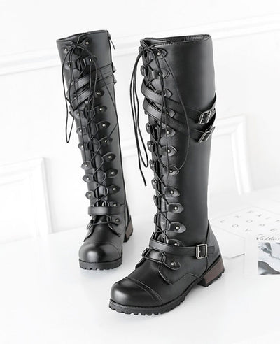 Lace Up Combat Boots for Women-4