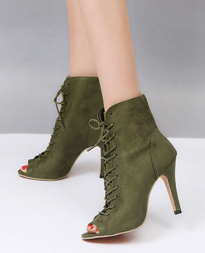 Lace Up Thin High Heel Peep Toe Boots-3