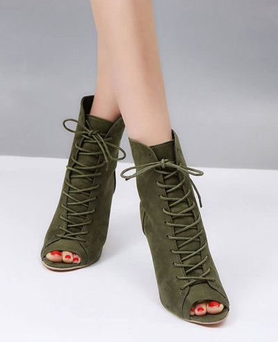 Lace Up Thin High Heel Peep Toe Boots-6