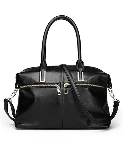 Large Capacity Retro Zipper Tote Handbag