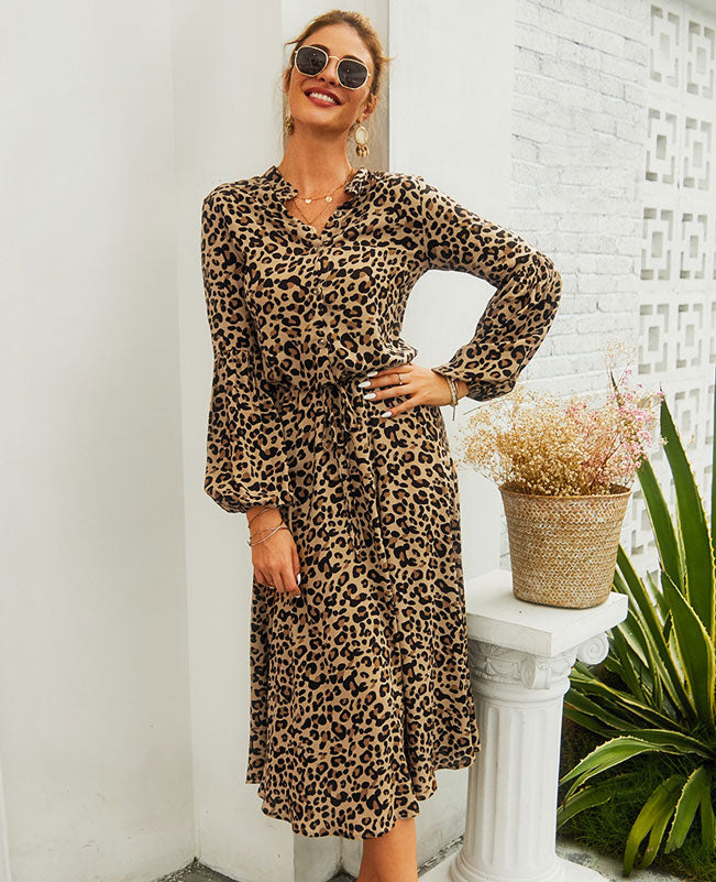Leopard Print Shirt Dress-1