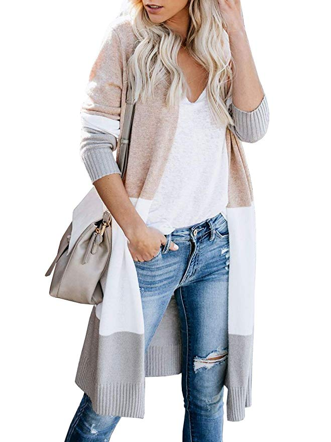 Colorblock Long Cardigan Sweater-1