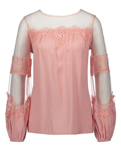 Long Sleeve Perspective Lace Blouse-4