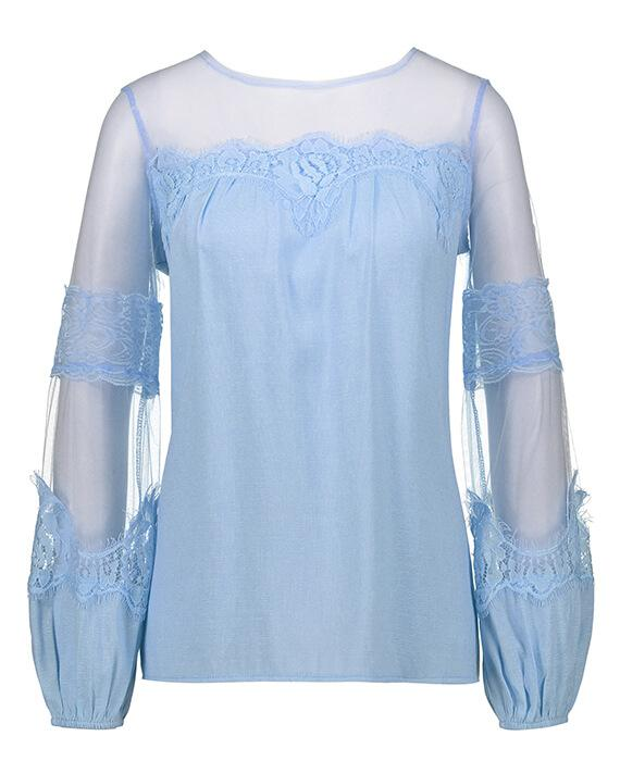 Long Sleeve Perspective Lace Blouse-1