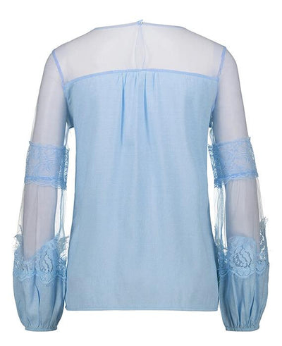 Long Sleeve Perspective Lace Blouse-6