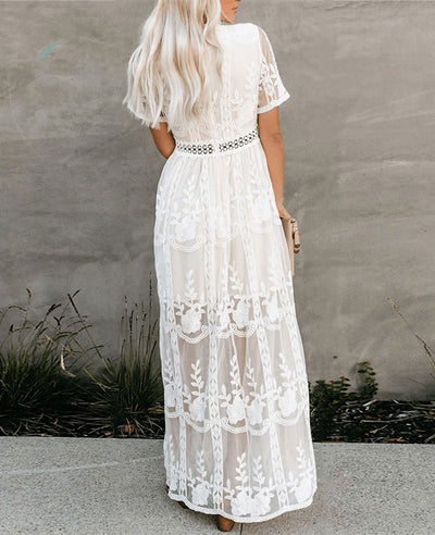 Long White Lace Boho Dress-4
